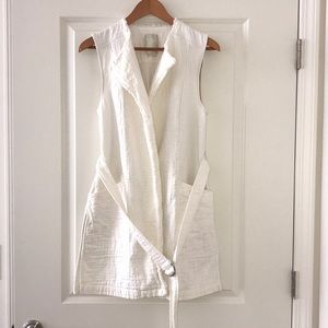Off White Cotton and Linen Belted Vest